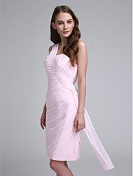 cheap -Sheath / Column One Shoulder Knee Length Chiffon Bridesmaid Dress with Side Draping / Criss Cross