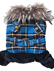 cheap -Dog Coat Hoodie Dog Clothes Plaid / Check Yellow Green Blue Polar Fleece Cotton Costume For Winter