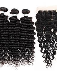 cheap -3 bundles brazilian virgin remy deep wave hair 300g with 4 x4 lace closure human hair extensions bundles