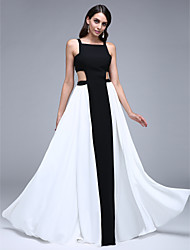 cheap -A-Line Color Block Cut Out Prom Formal Evening Dress Square Neck Sleeveless Floor Length Chiffon with Pleats 2020
