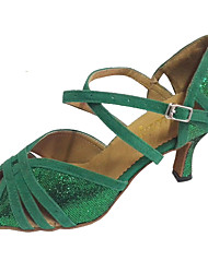 cheap -Women's Latin Shoes Sandal Customized Heel Sparkling Glitter Suede Green / Indoor / Salsa Shoes / Professional