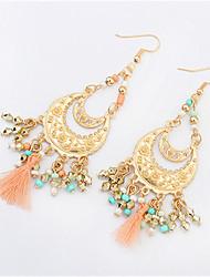 cheap -Women's Drop Earrings fan earrings Chandelier Tassel Bohemian European Fashion Resin Earrings Jewelry Black / Green / Pink For Party Daily Casual Work