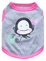 cheap -Cat Dog Shirt / T-Shirt Dog Clothes Breathable Black Pink Costume Cotton Animal Fashion XS S M L