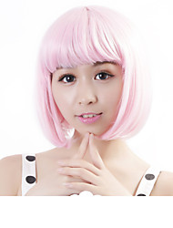 cheap -neitsi 100 kanekalon fiber 14 35cm 160g pc women s girl s cosplay short synthetic bob hair wigs light pink Halloween