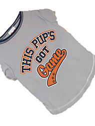 cheap -Dog Shirt / T-Shirt Dog Clothes Letter & Number Gray Cotton Costume For Summer