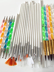 cheap -15pcs nail art tools brushes 5pcs nail art acrylic pen brush 5pcs 2 way nail art dotting tool