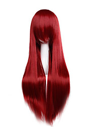 cheap -cheap price high temperature fuxia color synthetic cosplay wig 80cm young long straight wigs Halloween