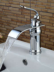 cheap -Contemporary Centerset Waterfall Ceramic Valve Single Handle One Hole Chrome, Bathroom Sink Faucet