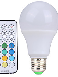 cheap -YWXLIGHT® 1pc 10 W LED Globe Bulbs 500 lm E26 / E27 A60(A19) 12 LED Beads SMD Dimmable Remote-Controlled Decorative Cold White RGB 220-240 V 110-130 V 85-265 V / 1 pc / RoHS