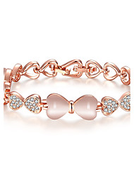 cheap -Women's Onyx Cubic Zirconia Bracelet Bangles Link / Chain Bowknot Vintage Fashion 18K Gold Plated Bracelet Jewelry Rose Gold For Wedding Party Daily Casual Work / Opal / Rose Gold Plated / Opal