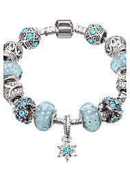 cheap -Women's Crystal Charm Bracelet Bead Bracelet Beaded Beads Flower European Festival / Holiday Crystal Bracelet Jewelry Fuchsia / Red / Light Blue For Christmas Gifts Party Daily Casual / Silver Plated