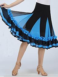 Недорогие -Бальные танцы Юбки Драпировка Аппликации Жен. Выступление Без рукавов Заниженная талия Спандекс
