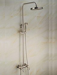 cheap -Shower Faucet - Antique Nickel Brushed Centerset Ceramic Valve Bath Shower Mixer Taps / Brass / Single Handle Two Holes