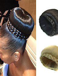 cheap -wedding bridal updo chignon bun clip braids synthetic straight hair extensions