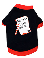 cheap -Cat Dog Shirt / T-Shirt Dog Clothes Breathable Black / Red Costume Cotton Letter & Number Christmas XS S M L