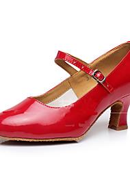 cheap -Women's Dance Shoes Faux Leather Modern Shoes/Character Shoes Sparkling Glitter / Buckle / Ruffles Sandal / Heel / Sneaker Cuban Heel Non Customizable Silver / Red / Golden / Indoor / Practice / EU41