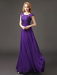 cheap -A-Line Scoop Neck Floor Length Chiffon / Lace Bodice Bridesmaid Dress with Appliques