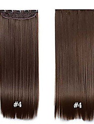 cheap -clip in synthetic hair 24 60cm 120g 4 long straight clip in hair extensions pieces 5 clips high temperature fiber