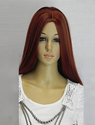 cheap -Synthetic Wig Wavy Style Wig Dark Red Synthetic Hair 28 inch Women's Middle Part Red Wig Long hairjoy