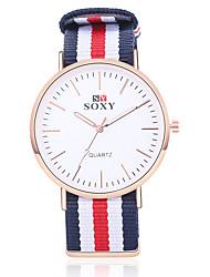 cheap -SOXY Men's Fashion Watch Quartz Stainless Steel Black / White / Khaki Casual Watch Analog Charm Classic Simple watch - White Beige Red