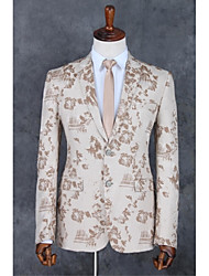 cheap -Champagne Pattern Standard Fit Polyester Suit - Notch Single Breasted Two-buttons / Pattern / Print / Suits