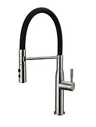abordables -Robinet de Cuisine - Mitigeur un trou Nickel brossé Pull-out / Pull-down Vasque Moderne Kitchen Taps