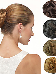 cheap -wedding bridal updo chignon bun clips synthetic straight hair extensions more colors