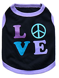 cheap -Cat Dog Shirt / T-Shirt Puppy Clothes Heart Fashion Dog Clothes Puppy Clothes Dog Outfits Breathable Black and Purple Pink Costume for Girl and Boy Dog Cotton XS S M L