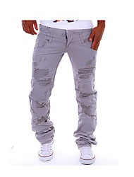 cheap -Men's Street chic / Punk & Gothic Casual Casual / Daily Work Straight / Chinos Pants - Solid Colored Cotton Khaki Light gray Royal Blue
