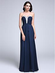 cheap -Sheath / Column Sparkle & Shine Prom Formal Evening Dress Sweetheart Neckline Sleeveless Floor Length Chiffon with Ruched Beading 2020