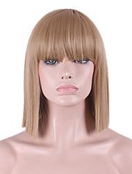 Недорогие -Парики из искусственных волос Прямой Яки Прямой силуэт Яки Стрижка боб С чёлкой Парик Средние Блондинка Искусственные волосы Жен. Природные волосы Коричневый