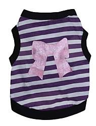 cheap -Cat Dog Shirt / T-Shirt Dog Clothes Bowknot Purple Pink Cotton Costume For Summer Men's Women's Fashion