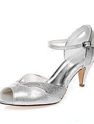 cheap -Women's Spring / Summer Low Heel Peep Toe Comfort Wedding Dress Party & Evening PU Silver