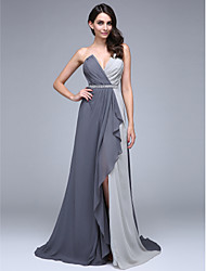 cheap -A-Line Color Block Formal Evening Dress V Neck Sleeveless Court Train Chiffon with Criss Cross Crystals Beading 2021