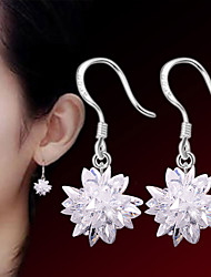cheap -Women's Crystal Earrings Flower Ladies Punk Fashion Druzy Sterling Silver Silver Earrings Jewelry White For Wedding Party Daily Casual Sports Masquerade