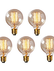 cheap -HRY 5pcs 40W E26 / E27 G95 Warm White 2300k Retro Dimmable Decorative Incandescent Vintage Edison Light Bulb 220-240V