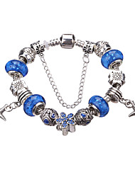 cheap -Women's Girls' Crystal Charm Bracelet Bead Bracelet Luxury European Fashion Acrylic Bracelet Jewelry Green / Blue / Light Blue For Party Daily Casual / Silver Plated / Imitation Diamond / Rhinestone
