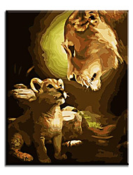 cheap -Home Decor Hand Painted Oil Painting Of Lion Motherhood For Living Room with Stretched Frame Ready to Hang