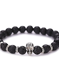 cheap -Natural Stone Bead Bracelet Beads Skull Vintage Fashion Synthetic Gemstones Bracelet Jewelry Black For Christmas Gifts Party Daily Casual