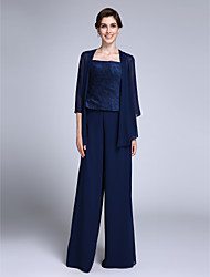 cheap -Jumpsuits Sheath / Column Mother of the Bride Dress Convertible Dress Jumpsuits Straps Floor Length Chiffon 3/4 Length Sleeve with Side Draping 2021