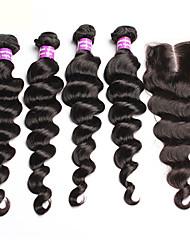 Недорогие -Бразильские волосы Свободные волны 300 g Волосы Уток с закрытием Ткет человеческих волос Расширения человеческих волос