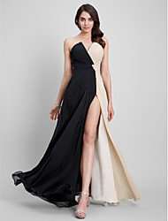 cheap -Sheath / Column Strapless Floor Length Chiffon Furcal / Minimalist Cocktail Party / Formal Evening / Holiday Dress with Criss Cross 2020