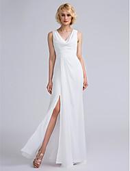 cheap -Sheath / Column V Neck Floor Length Chiffon Bridesmaid Dress with Ruched