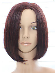 cheap -Human Hair Machine Made Wig Bob style Brazilian Hair Straight Wig 130% Density with Baby Hair Natural Hairline African American Wig 100% Hand Tied Women's Medium Length Human Hair Lace Wig