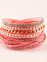 cheap -Women's Wrap Bracelet Leather Bracelet Ladies Bohemian Fashion Boho Leather Bracelet Jewelry Pink / Navy / Dark Red For Party Daily Casual / Imitation Diamond / Rhinestone