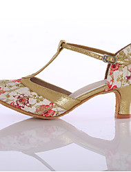 cheap -Women's Latin Shoes / Ballroom Shoes Fabric Buckle Heel Sparkling Glitter / Buckle Customized Heel Customizable Dance Shoes Red / Blue / Indoor / EU37