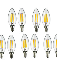 cheap -10pcs 4 W LED Filament Bulbs 360 lm E14 C35 4 LED Beads COB Decorative Warm White Cold White 220-240 V / 10 pcs / RoHS