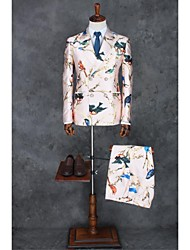 cheap -Pink Pattern Slim Fit Polyester Suit - Slim Notch Double Breasted Two-buttons / Pattern / Print / Suits