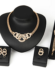 cheap -Women's Cubic Zirconia Necklace Earrings Bracelet Link / Chain Bib Africa Earrings Jewelry Silver / Golden For Wedding Party Daily Casual 1 set / Ring / Rings / Bracelets & Bangles