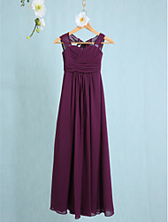 cheap -Sheath / Column Straps Ankle Length Chiffon Junior Bridesmaid Dress with Ruched / Natural